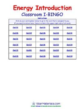 A Brilliant -  I-BINGO – Energy Introduction - Interactive BINGO