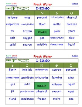 A Brilliant -  I-BINGO – Fresh Water - Interactive BINGO