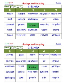 A Brilliant -  I-BINGO – Garbage and Recycling - Interactive BINGO