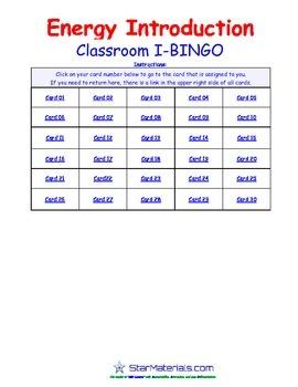 A Brilliant - I-BINGO – Intro to Energy - IBPS011 Interactive BINGO