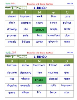 A Brilliant -  I-BINGO – Inventions and Simple Machines - Interactive BINGO