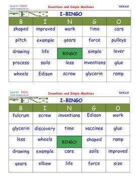 A Brilliant -  I-BINGO – Inventions and Simple Machines -