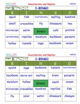 A Brilliant -  I-BINGO – Invertebrates and Reptiles - Interactive BINGO