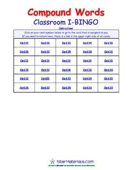 A Brilliant - I-BINGO – Lang Arts - Compound Words - IBLA3005 Interactive BINGO