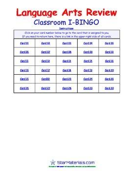 A Brilliant - I-BINGO – Lang Arts - Term Review - IBLA3004 Interactive BINGO