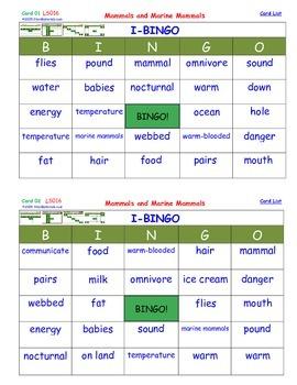 A Brilliant - I-BINGO – Mammals and Marine Mammals - LS016 Interactive BINGO