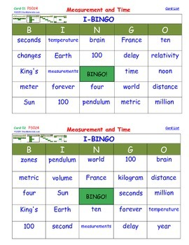 A Brilliant -  I-BINGO – Measurement and Time - Interactive BINGO