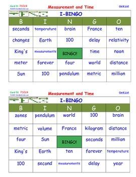 A Brilliant -  I-BINGO – Measurement and Time - Interactive BINGO