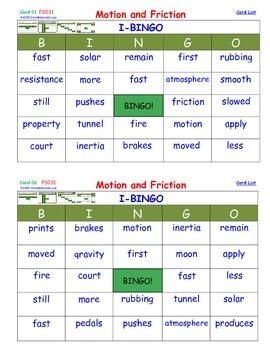 A Brilliant -  I-BINGO – Motion and Friction - Interactive BINGO