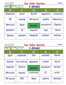 A Brilliant -  I-BINGO – Our Solar System - IBSS004 Interactive BINGO