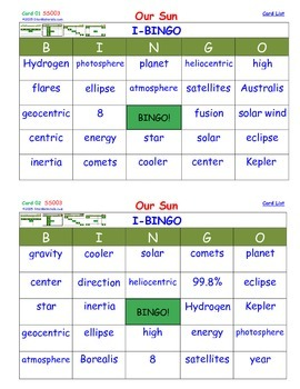A Brilliant -  I-BINGO – Our Sun - IBSS003 Interactive BINGO