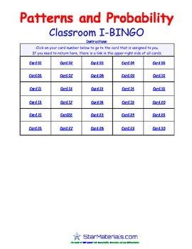 A Brilliant -  I-BINGO – Patterns and Probability - Interactive BINGO