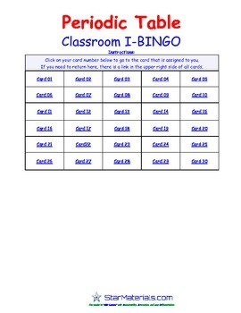 A Brilliant -  I-BINGO – Periodic Table - Interactive BINGO