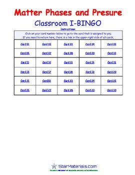 A Brilliant -  I-BINGO – Phases of Matter and Pressure - Interactive BINGO