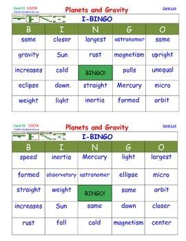 A Brilliant -  I-BINGO – Planets and Gravity - Interactive BINGO