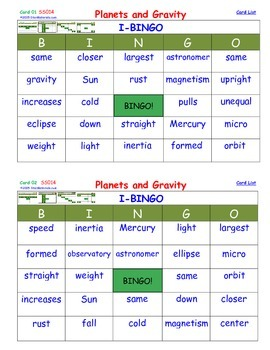 A Brilliant -  I-BINGO – Planets and Gravity - Interactive BINGO