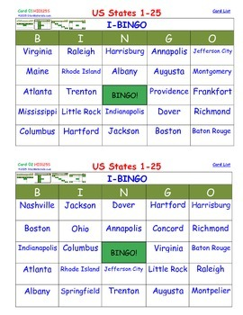 A Brilliant - I-BINGO – Part 1 - Capitals on Cards - States 01-25