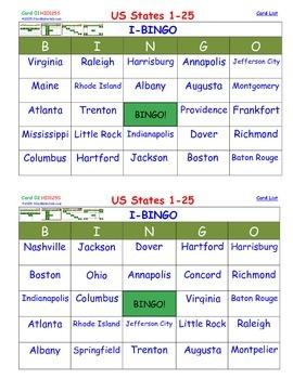 A Brilliant - I-BINGO – Part 1 - Capitals on Cards - States 01-25