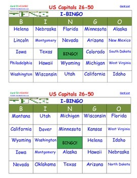 A Brilliant - I-BINGO – Part 2 - STATES on Cards - Capitals of States 26-50