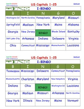 A Brilliant - I-BINGO – Part 1 - STATES on Cards - Capitals of States 1-25