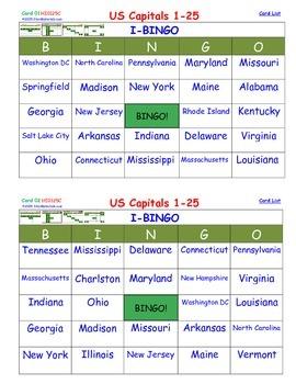 A Brilliant - I-BINGO – Part 1 - STATES on Cards - Capital