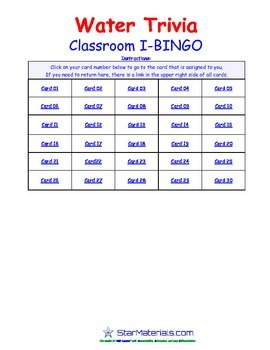 A Brilliant -  I-BINGO – Water Trivia - IBES001 Interactive BINGO