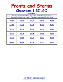 A Brilliant -  I-BINGO – Fronts and Storms - Weather - IBES013 Interactive BINGO