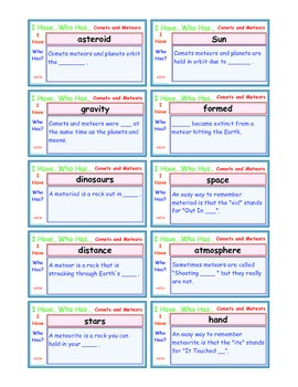 A Brilliant -  I Have Who Has 30 Card Set – Comets and Met