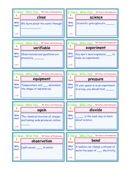 A Brilliant -  I Have Who Has 30 Card Set – DIY Science an