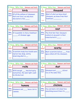 A Brilliant -  I Have Who Has 30 Card Set – Dinosaurs and Fossils  - IHWH