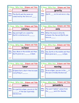 A Brilliant -  I Have Who Has 30 Card Set – Eclipses and Tides IHWH_SS007