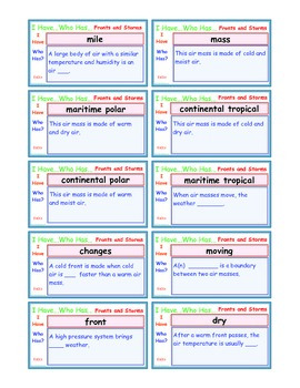 A Brilliant -  I Have Who Has 30 Card Set – Fronts and Storms IHWH_ES013