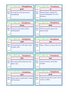 A Brilliant -  I Have Who Has 30 Card Set – Homophones IHW