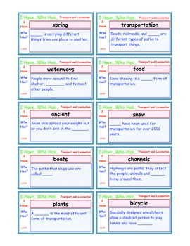 A Brilliant -  I Have Who Has 30 Card Set – Locomotion