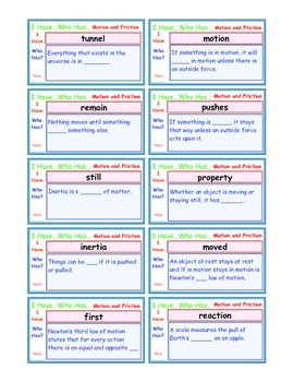 A Brilliant -  I Have Who Has 30 Card Set – Motion and Friction