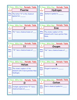 A Brilliant -  I Have Who Has 30 Card Set – Periodic Table