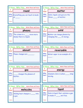 A Brilliant -  I Have Who Has 30 Card Set – Phases of Matter and Pressure