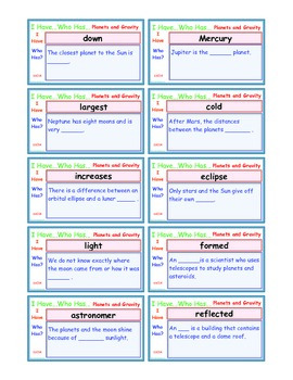 A Brilliant -  I Have Who Has 30 Card Set – Planets and Gravity - IHWH