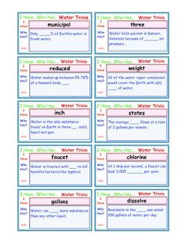 A Brilliant -  I Have Who Has 30 Card Set – Water Trivia I