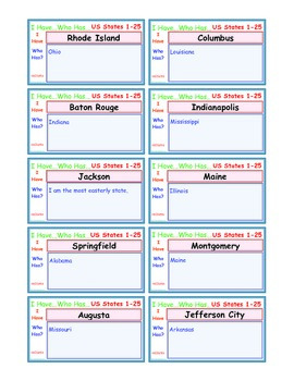 A Brilliant -  I Have Who Has-Part 1-Capitals - CAPITALS as Ans - States 1-25