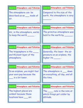 A Brilliant - I-Scoot – Atmosphere and Pollution – 30 Task Cards - Interactive