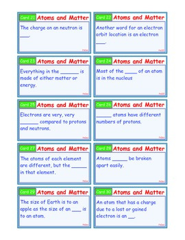 A Brilliant - I-Scoot – Atoms and Matter – 30 Task Cards - Interactive