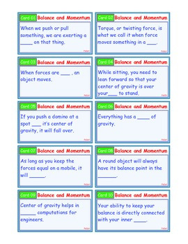 A Brilliant - I-Scoot – Balance and Momentum – 30 Task Cards - Interactive