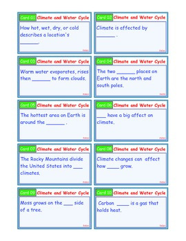 A Brilliant - I-Scoot – Climate and Water Cycle – 30 Task Cards - Interactive