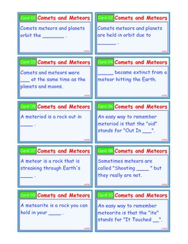 A Brilliant - I-Scoot – Comets and Meteors – 30 Task Cards - Interactive