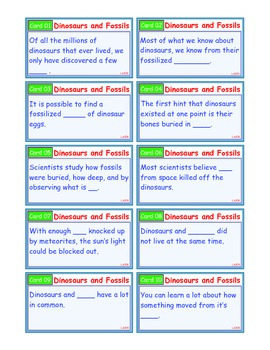 A Brilliant - I-Scoot – Dinosaurs and Fossils – 30 Task Cards - Interactive
