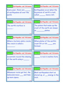A Brilliant - I-Scoot – Earthquakes and Volcanoes – 30 Task Cards - Interactive