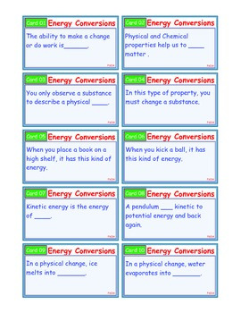 A Brilliant - I-Scoot – Energy Conversions – 30 Task Cards - Interactive