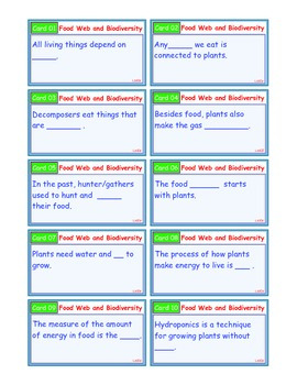A Brilliant - I-Scoot – Food Web and Biodiversity – 30 Task Cards - Interactive