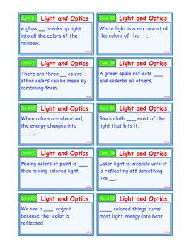 A Brilliant - I-Scoot – Light and Optics – 30 Task Cards - Interactive